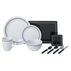 Argos Home New Frame 60 Pc Porcelain Dinner Set Black/ White