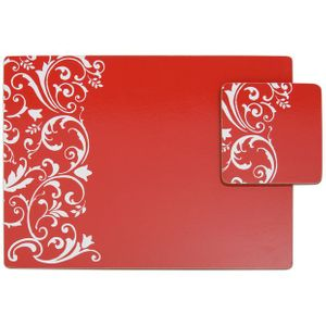 Argos Home Set of 4 Damask Red Placemats and Coasters