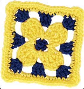 Golden Flower Granny Square (DOWNLOAD PATTERN)