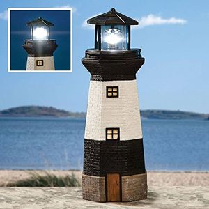 Solar Powered Light House Garden Lighthouse Ornament with Rotating Led