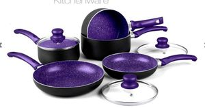 8-Piece Marble Effect Induction Pan Set - 4 Colours