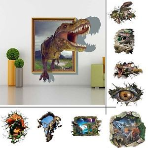 3D View Dinosaur Kids Room Wall Sticker Wallpaper Home Boy Decor Decal Mural Art