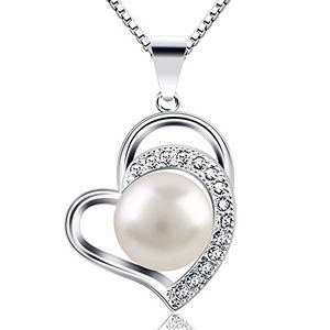 "Pearl Necklace for Women ""Only Love You"" 925 Sterling Silver Pearl Necklaces"