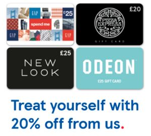 20% off Gift Cards - Pizza Express - Gap - Odeon - New Look at Tesco