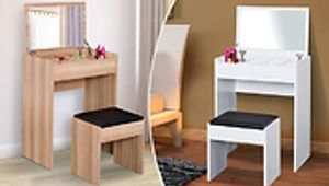 Mirrored Dressing Table and Stool - 2 Colours