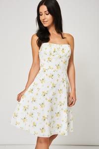 Yellow Floral Pattern Bandeau Dress