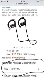 Wireless Bluetooth Headphones - Only £4.20