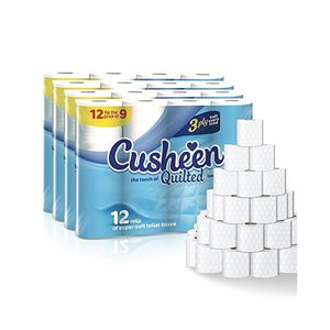 Cusheen Quilted White Toilet Paper - 60 Rolls