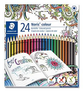 Noris Coloured Pencil with Adult Colouring Design, Assorted Colours, Pack of 24
