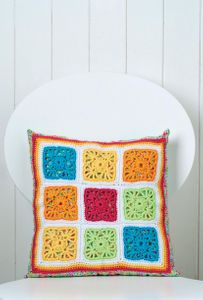 Colourful Granny Square Crochet Cushion DOWNLOAD PATTERN