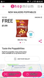 Free Pack on Poppables Crisps on Shopmium Appr