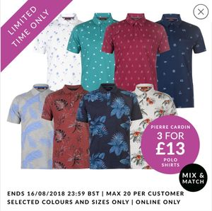 3 Pierre Cardin Polo Shirts for £13 at Sport Direct