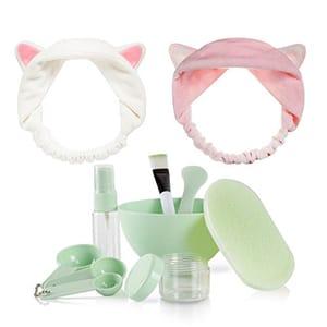 Teenitor 9 in 1 Green Mask Bowl + 2 Pcs Cat Ear Headbands - Large Bowl