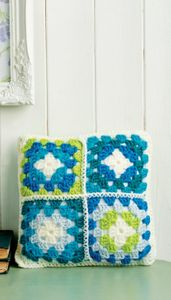 Crochet Cushion with Four Mini Granny Squares (DOWNLOAD PATTERN)