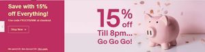 15% off Ebay Uk Site Code - PIGGYBANK- Ends 8pm 17/08
