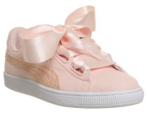 Puma Basket Heart Canvas Trainers Pearl Puma White Rose Gold