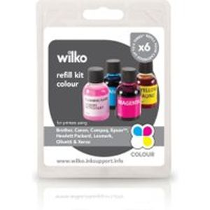 Wilko Printer Ink Refill Kit Colour 4pk