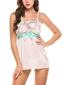 Save 60%OFF Women Sheer Mesh Babydoll Sleepwear Lace Lingerie Set Chemise