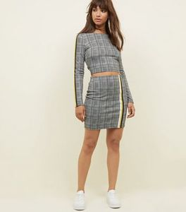 Black Check Print Mini Skirt