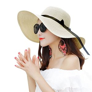 55% off Women Anti-UV Ladies Straw Sun Hat Summer Beach Hat