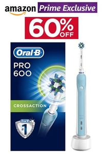 PRIME EXCLUSIVE! save £30 Oral-B Pro 600 CrossAction Electric Toothbrush 60% OFF
