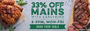 Harvester | 33% off Mains with Our Earlybird Offer!