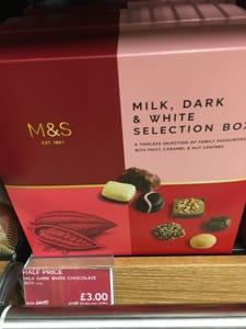 Half Price M&S Milk, Dark & White Chocolate Selection Box