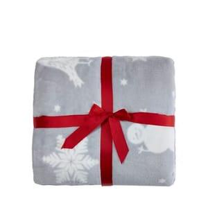 Grey Christmas Scene Fleece Throw