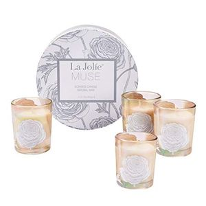 Scented Candle Holiday Gift Set 4, Four Season, Natural Wax, Amber Glass
