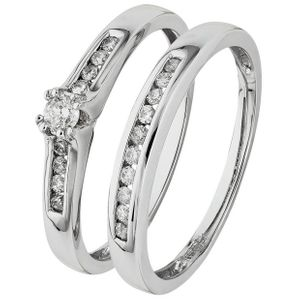 9ct White Gold Wedding Ring Set Great Discount