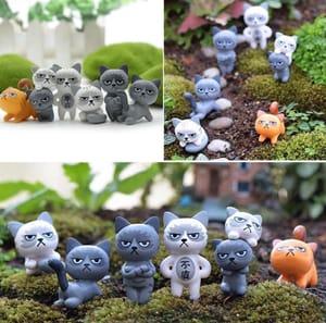 6 Mini Grumpy Cat Figures Decorations Only £2.19