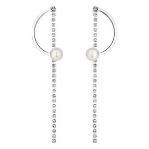 Lipsy - Pearl and Crystal Half Hoop Earrings