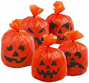 Hanging Halloween Pumpkin Leaf Bags, Pack of 20