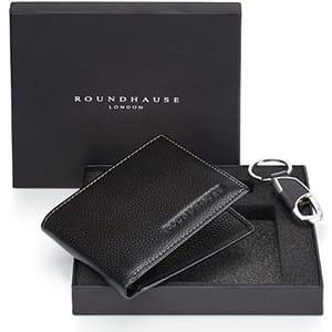 Roundhause Black Designer Slim Bi Fold Mens Wallet