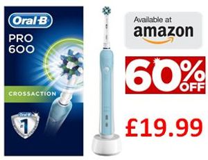 Oral-B Pro 600 CrossAction Electric Toothbrush - Only £19.99!