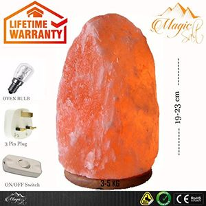 High Quality Himalayan Salt Lamp 3-5 Kg in Neem Wood By Magic Salt