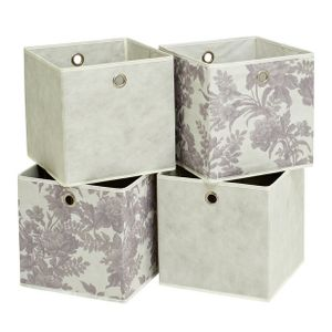 Argos Home Squares Set of 4 Storage Boxes - Grey & Floral