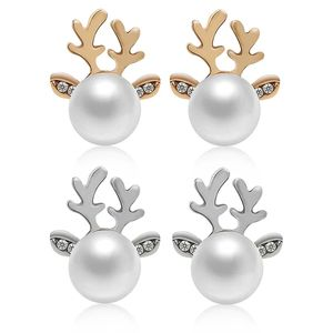 1 Pairs Xmas Fashion Christmas Pearl Deer Earrings Ear Stud Women Girls' Jewelry