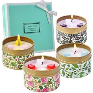 Scented Candles Gift Set of ROSE VANILLA LAVENDER JASMINE 4 Pack