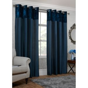 Crushed Velvet Top Border Thermal Eyelet Curtains 66 X 90""