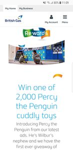 Win 1 of 2000 Percy Penguin Cuddly Toy. British Gas Rewards Customers