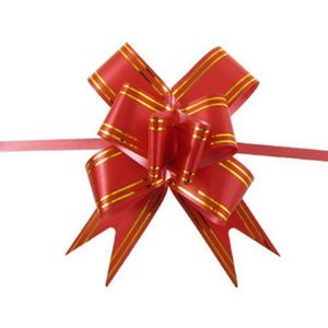 10PCS Large 10cm 4in Butterfly Style Golden Edge Ribbon Pull Bow Red