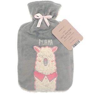 Large 2 LTR Hot Water Bottle Plush Fleece Llama Design FREE DELIVERY
