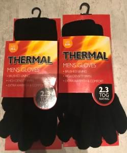 Thermal Mens Gloves 2.3 Tog Rating £1.79 in Store at Home Bargains