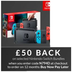 £50 Back on Selected Nintendo Switch Bundles with Code