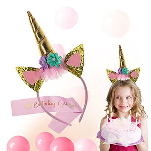 Girls Unicorn Birthday Party Headband and Pink Birthday Sash Set