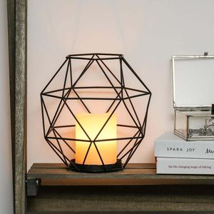 Festive Lights - Black Cage Battery Wax Candle Lantern - save 70%