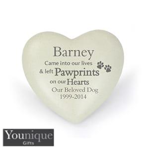 Personalised Pet Paw Prints Heart Memorial