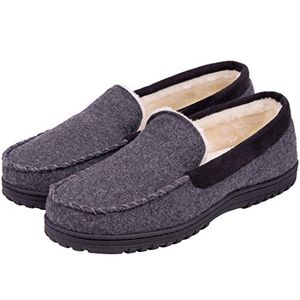 Men's Memory Foam Plush Fleece Lined Moccasin Slippers