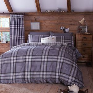 Catherine Lansfield Kelso Check Duvet Set - Charcoal (SINGLE)